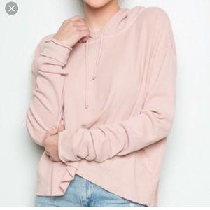 Brandy Melville pink Waffle crop sweatshirt